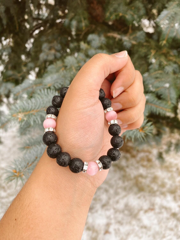 Pink/ Silver Lava Beaded Bracelet