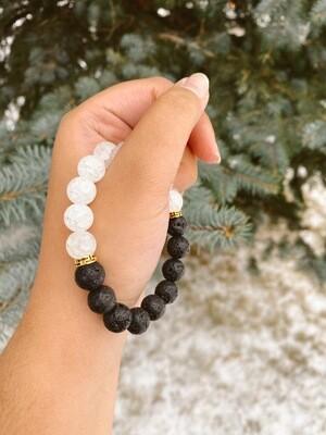 White Black Lava Bead