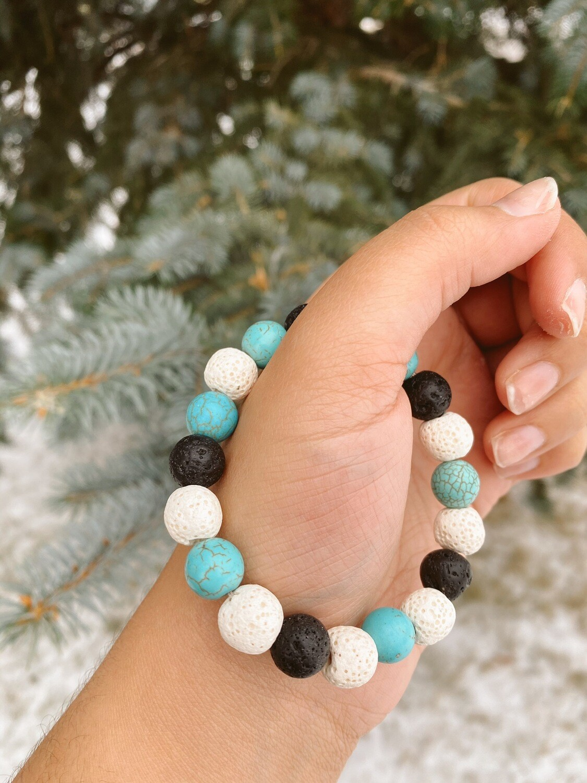 Black Turquoise White Lava Bead