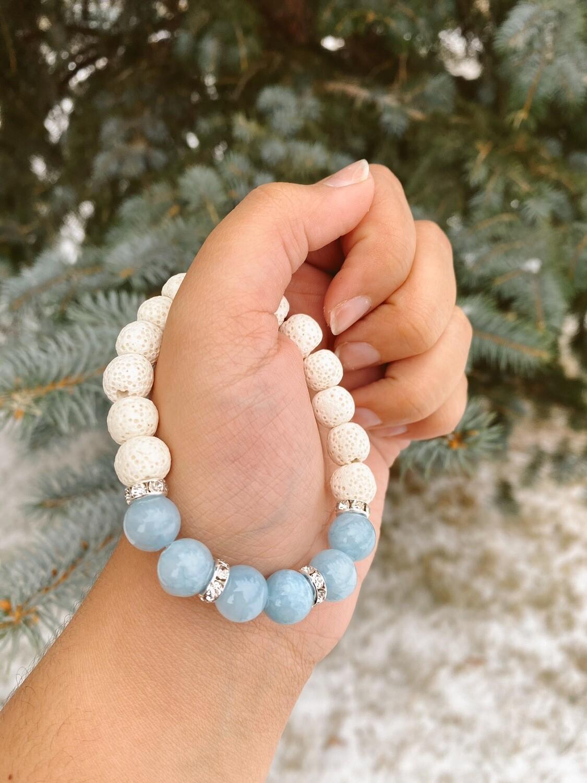 White Baby Blue Lava Bead