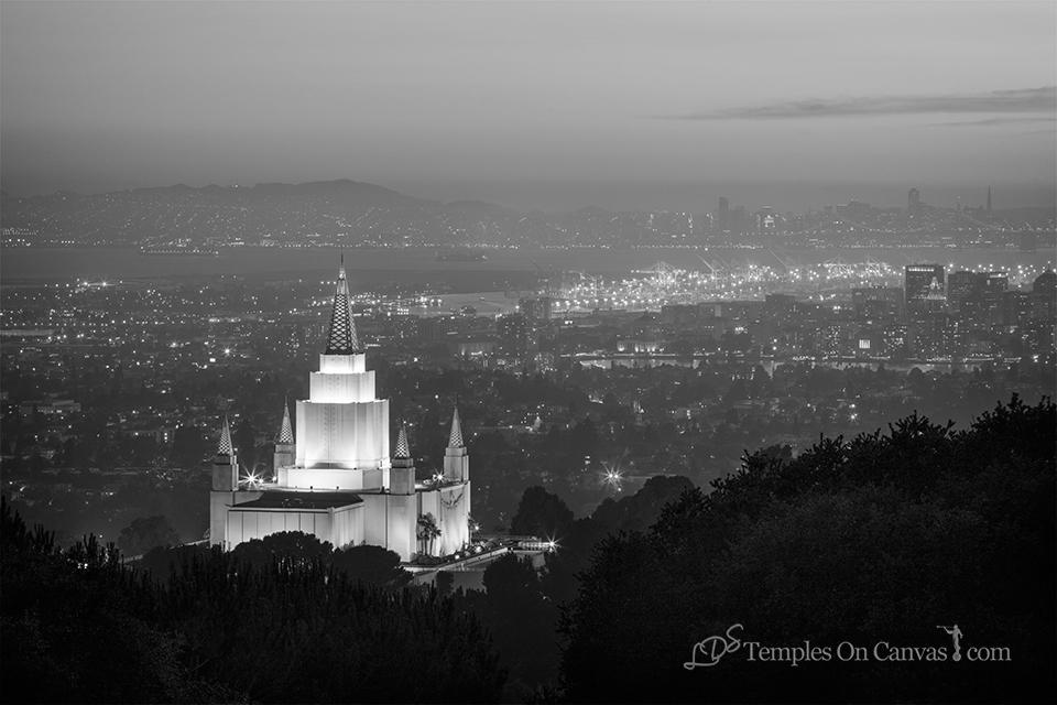 Oakland California Temple - Beacon of Light - Black & White