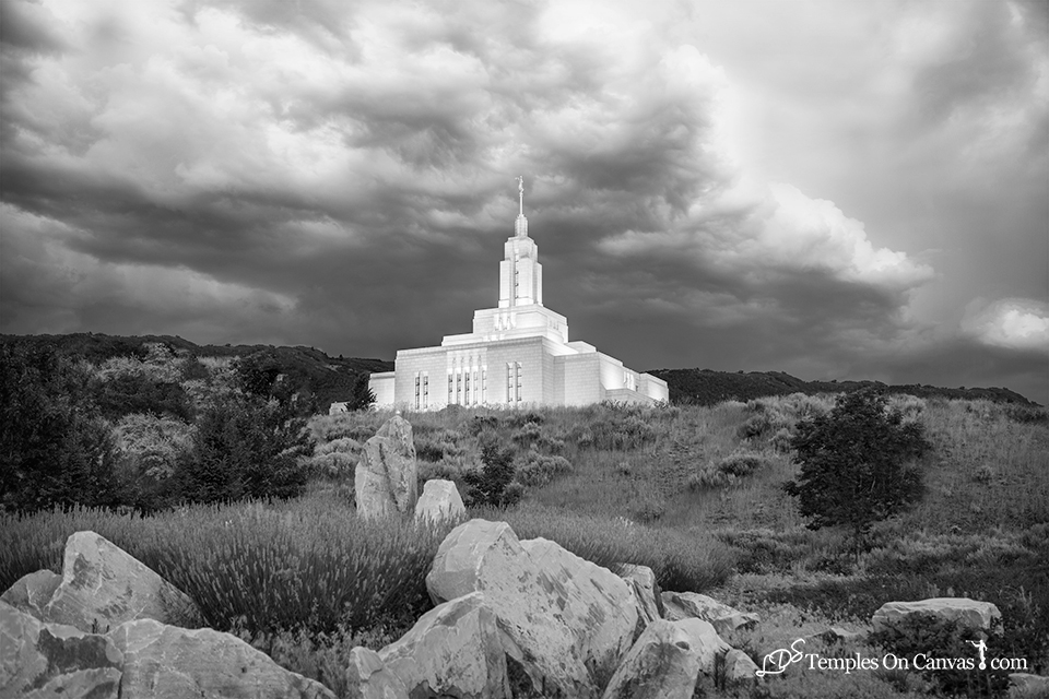 Draper Utah LDS Temple - Mountain of the Lord - Black & White