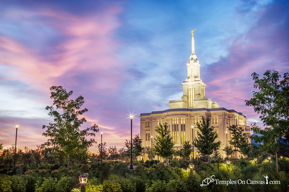Payson Utah LDS Temple - Summer Sunrise - Full Color