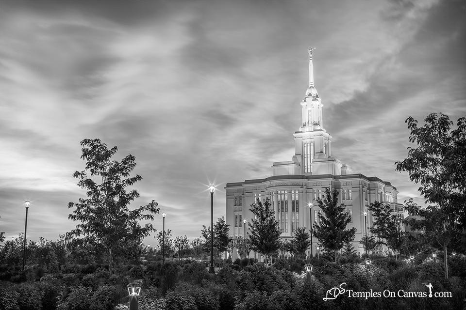 Payson Utah LDS Temple - Summer Sunrise - Black & White