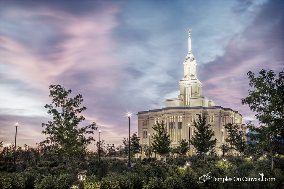 Payson Utah LDS Temple - Summer Sunrise - Tinted Black & White