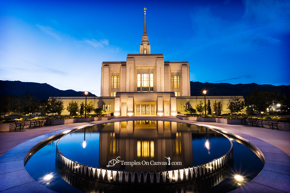 Ogden Utah LDS Temple - Reflection Pool - Full Color