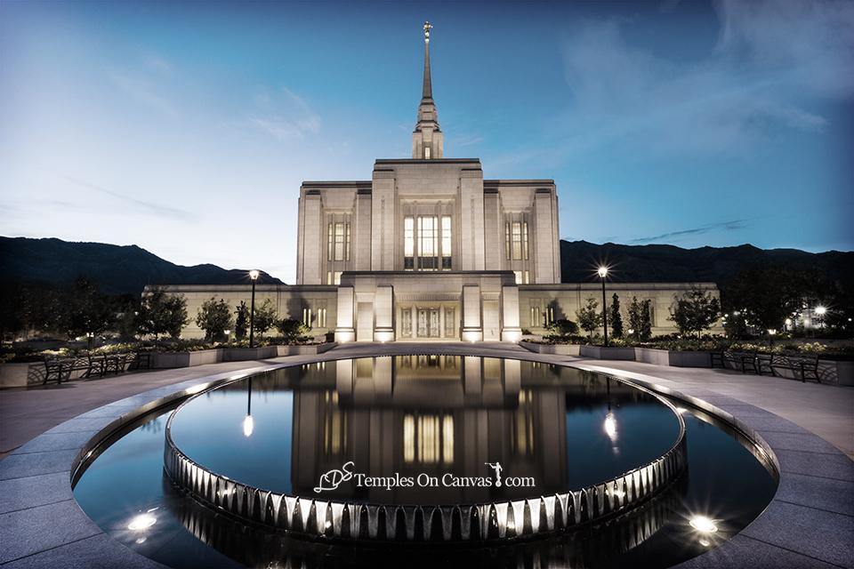 Ogden Utah LDS Temple - Reflection Pool - Tinted Black & White
