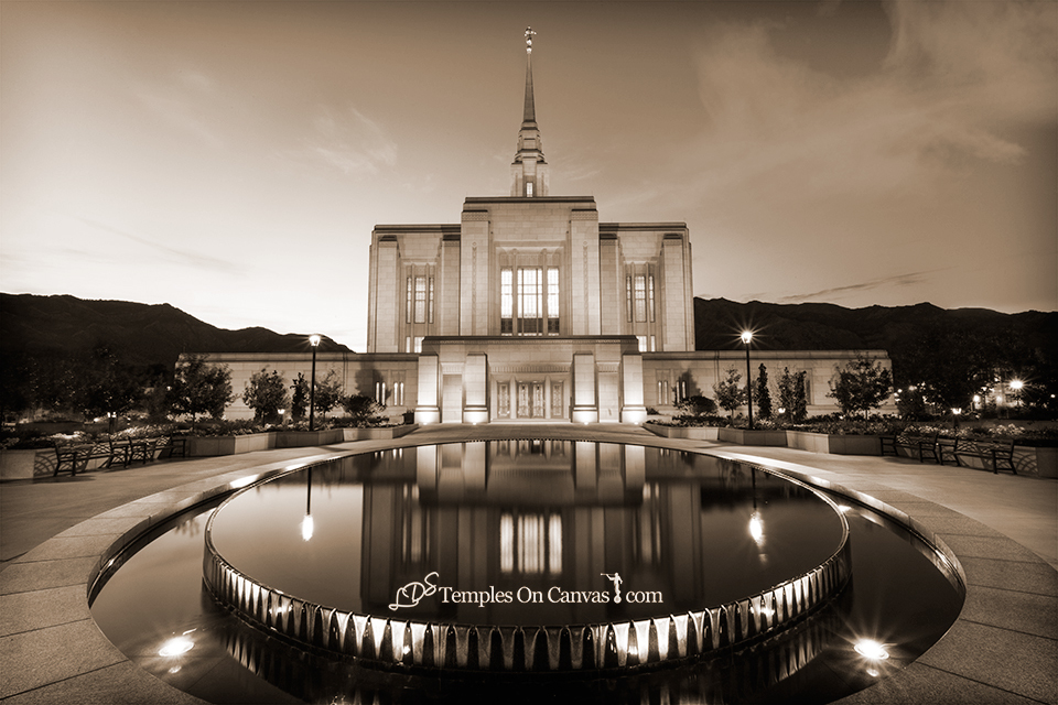 Ogden Utah LDS Temple - Reflection Pool - Sepia