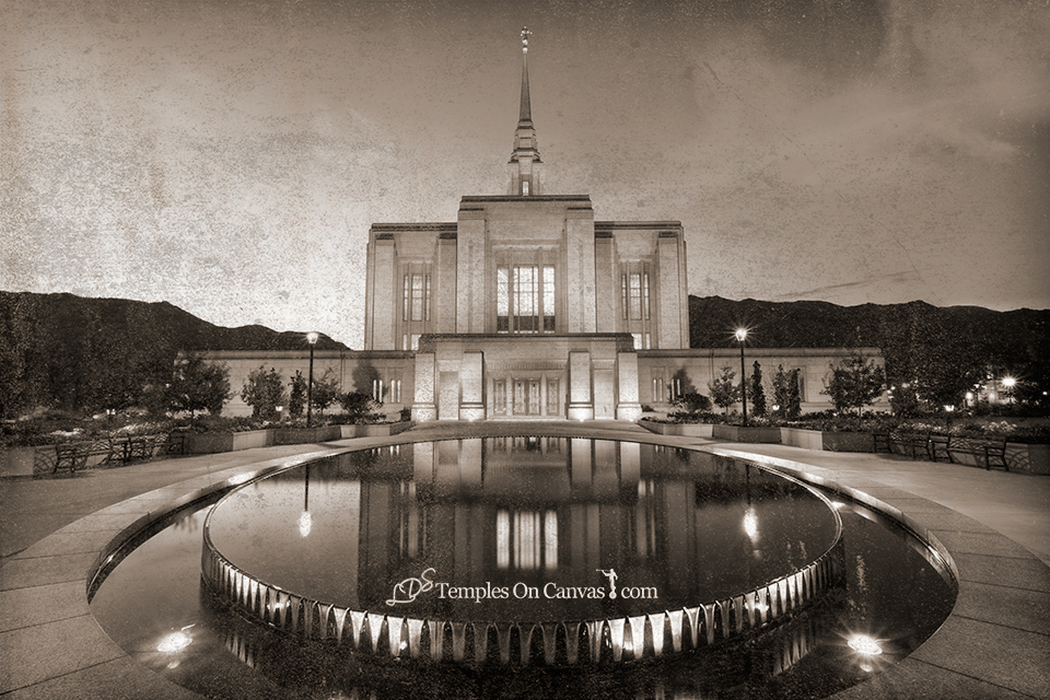Ogden Utah LDS Temple - Reflection Pool - Rustic