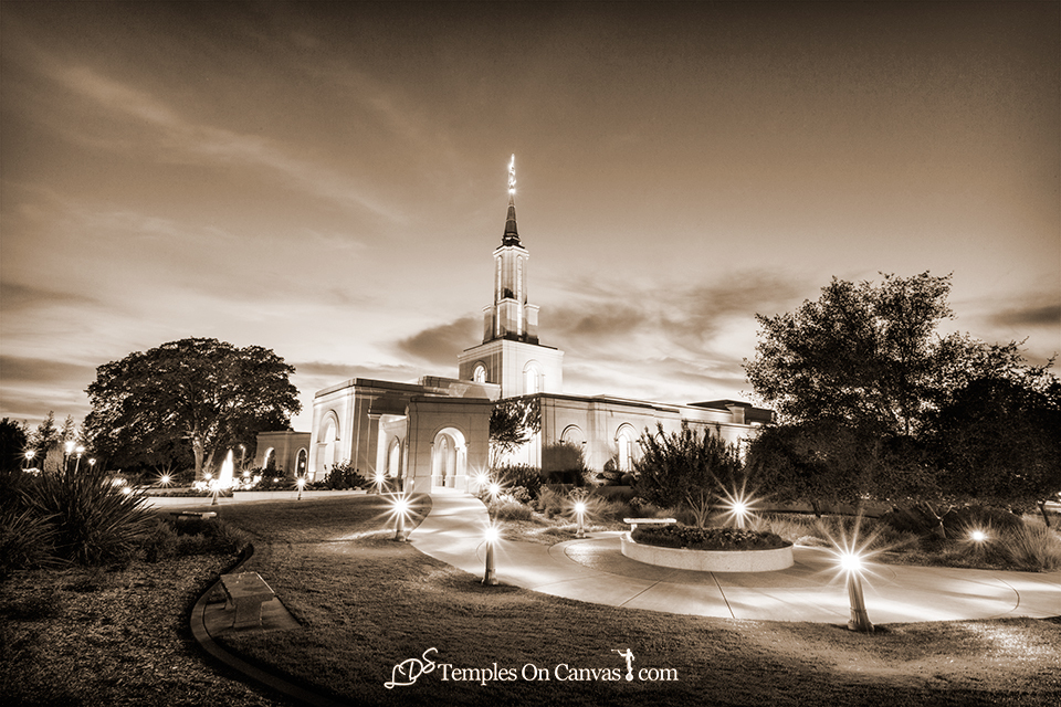 Sacramento California LDS Temple - Peaceful Dusk - Sepia