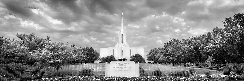 Jordan River Utah LDS Temple - Tempest - Black & White