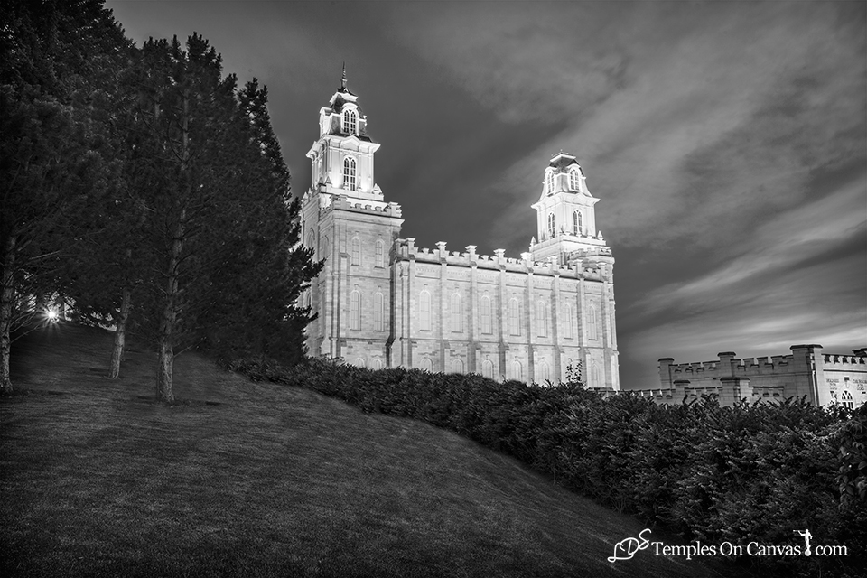 Manti Utah LDS Temple - Beacon of Light - Black & White Print