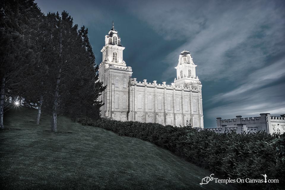 Manti Utah LDS Temple - Beacon of Light - Tinted Black & White Print