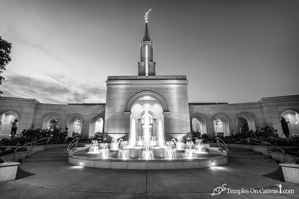 Sacramento California LDS Temple - Living Water - Black & White