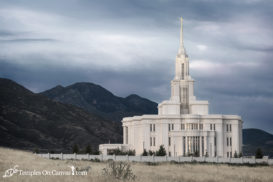 Payson Utah LDS Temple - Mountain of the Lord - Tinted Black & White