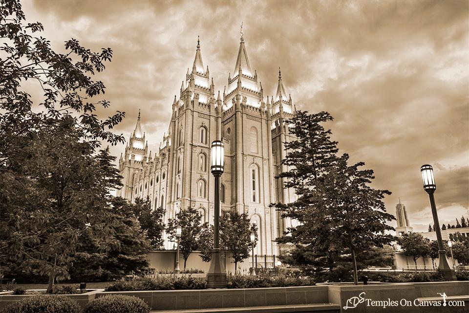 Salt Lake UT LDS Temple - Pioneer Temple - Sepia Print