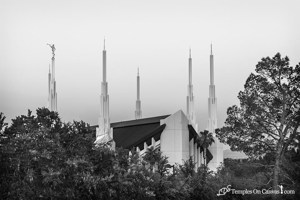 Las Vegas NV LDS Temple - Heavenward - Black & White Print