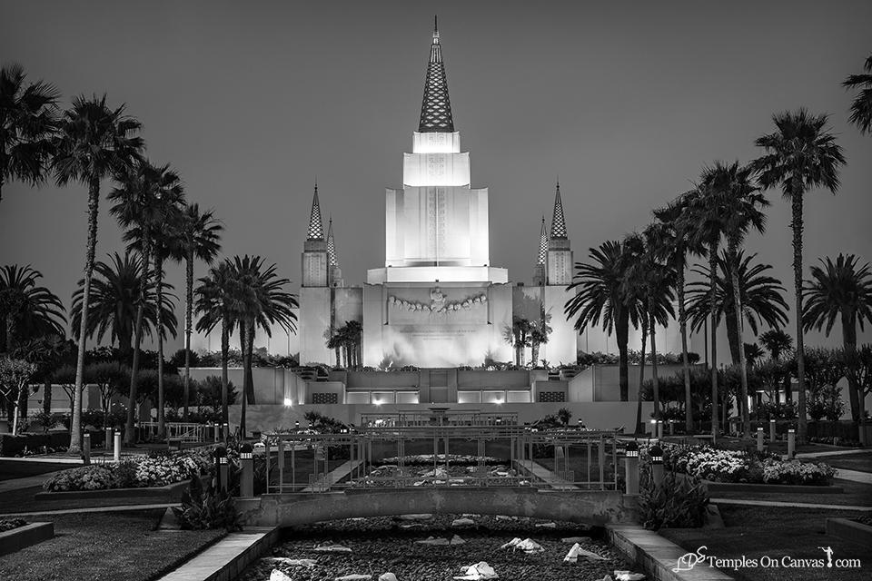 Oakland CA LDS Temple - Heavenward - Black & White Print