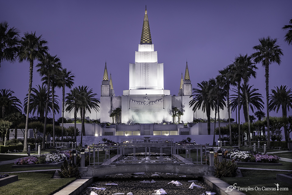 Oakland CA LDS Temple - Heavenward - Tinted Black & White Print