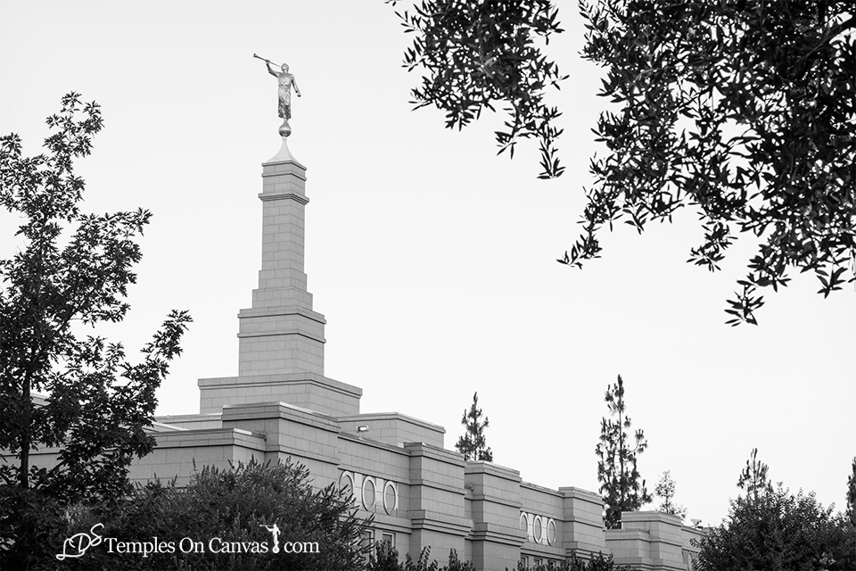Fresno California LDS Temple - Heavenward - Black & White