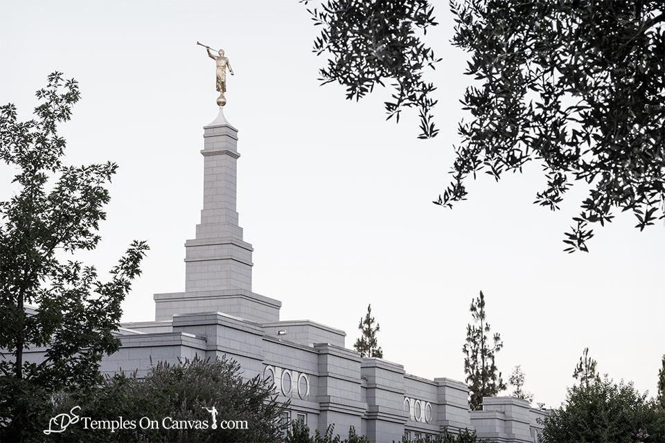 Fresno California LDS Temple - Heavenward - Tinted Black & White