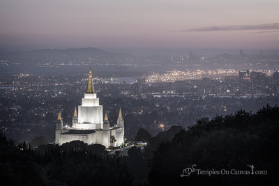Oakland California Temple - Beacon of Light - Tinted Black & White