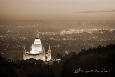 Oakland California Temple - Beacon of Light - Sepia