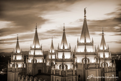 Salt Lake City Utah LDS Temple - Heavenward - Sepia