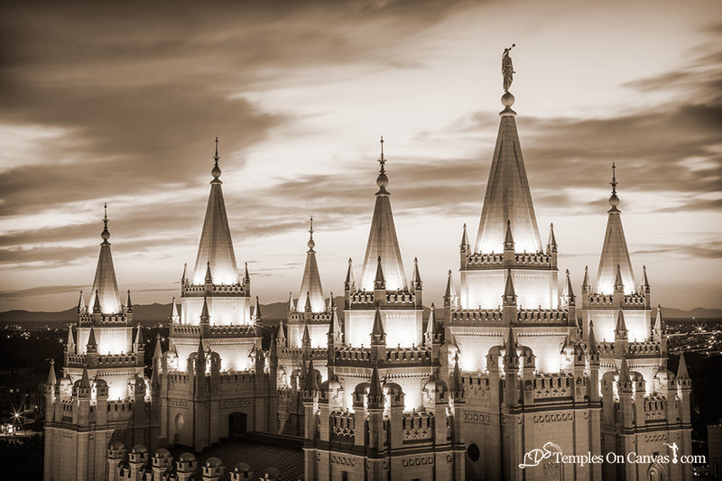 Salt Lake City Utah LDS Temple - Heavenward - Sepia