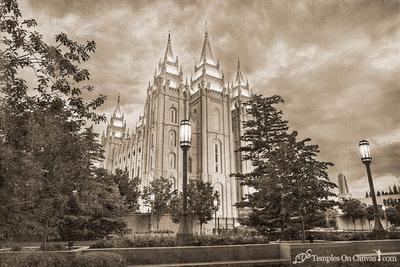 Salt Lake UT LDS Temple - Pioneer Temple - Rustic Print