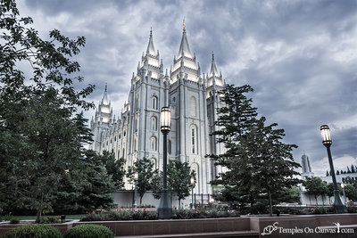 Salt Lake UT LDS Temple - Pioneer Temple - Tinted Black & White Print