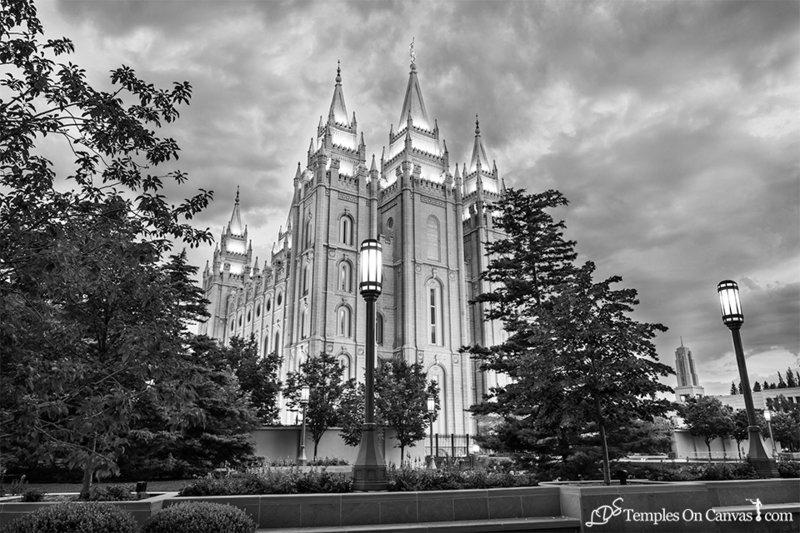 Salt Lake UT LDS Temple - Pioneer Temple - Black & White Print