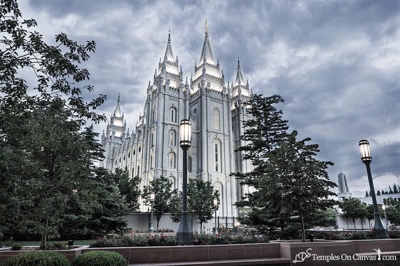 Salt Lake UT LDS Temple - Pioneer Temple - Tinted Black & White Print