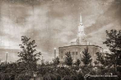 Payson Utah LDS Temple - Summer Sunrise - Rustic