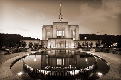 Ogden Utah LDS Temple - Reflection Pool - Sepia