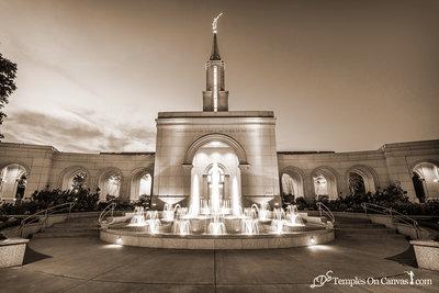 Sacramento California LDS Temple - Living Water - Sepia