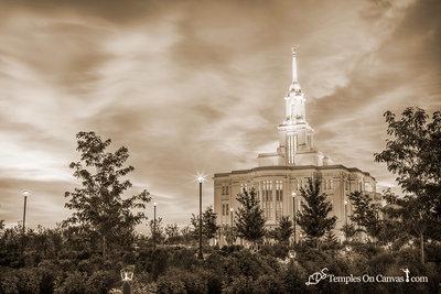Payson Utah LDS Temple - Summer Sunrise - Sepia