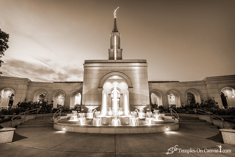 Sacramento California LDS Temple - Living Water - Sepia