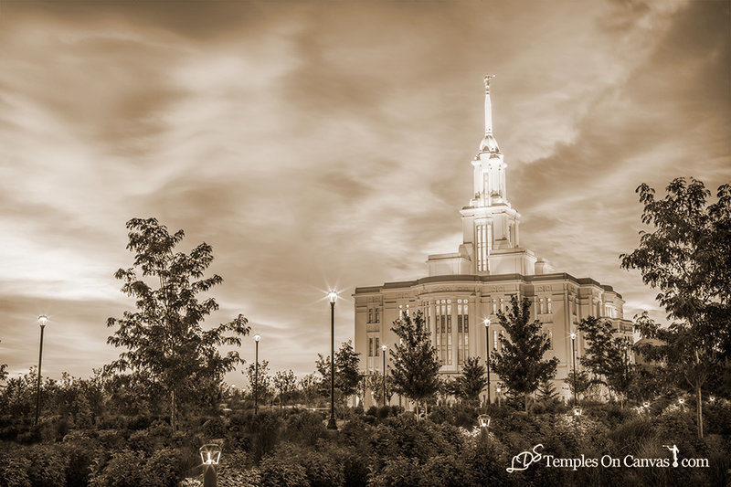 Payson Utah LDS Temple - Summer Sunrise - Sepia