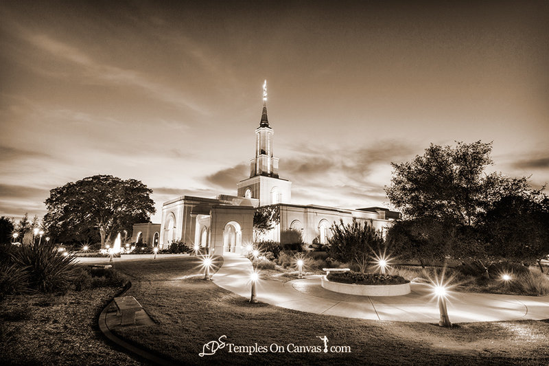 Sacramento California LDS Temple - Peaceful Dusk - Sepia