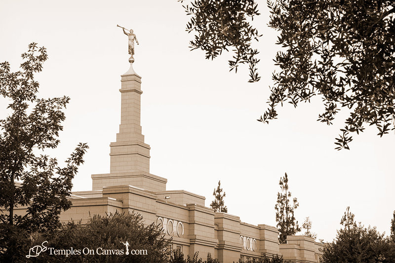 Fresno California LDS Temple - Heavenward - Sepia