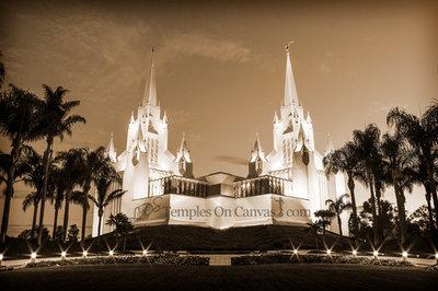 San Diego CA Temple Art - Summer Sunrise - Sepia