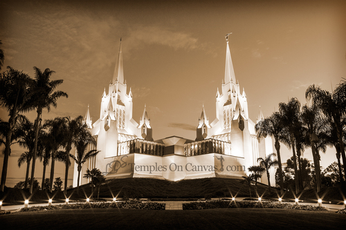 San Diego CA Temple Art - Summer Sunrise - Sepia