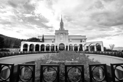Bountiful Utah LDS Temple - Mountain of the Lord - Black & White