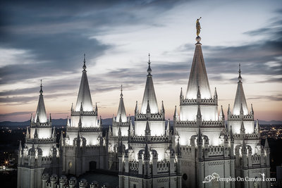 Salt Lake City Utah LDS Temple - Heavenward - Tinted Black & White