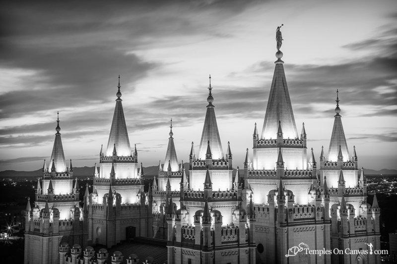 Salt Lake City Utah LDS Temple - Heavenward - Black & White