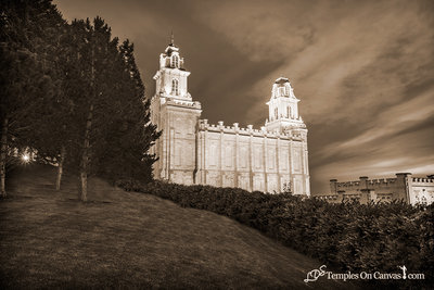 Manti Utah LDS Temple - Beacon of Light - Sepia Print