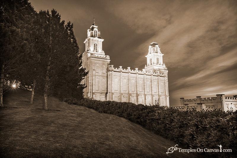 Manti Utah LDS Temple - Beacon of Light - Sepia Print