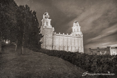 Manti Utah LDS Temple - Beacon of Light - Rustic Print