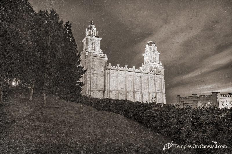 Manti Utah LDS Temple - Beacon of Light - Rustic Print